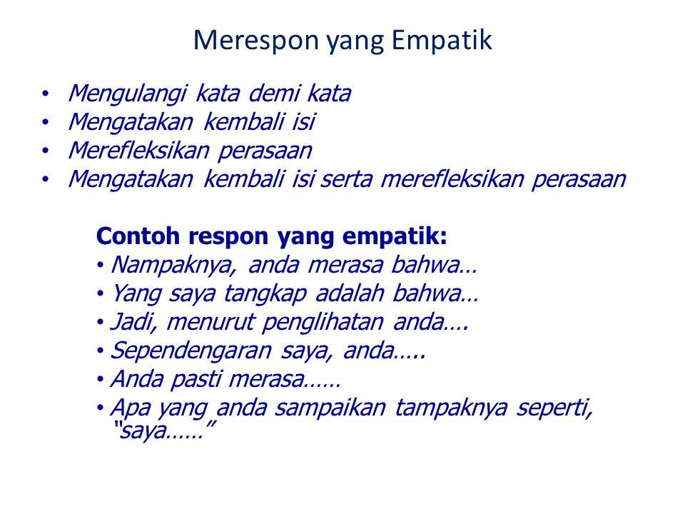 Merespon yang Empatik Mengulangi kata demi kata Mengatakan kembali isi
