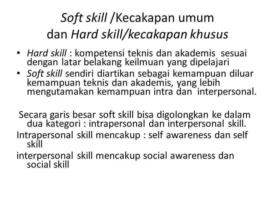 Soft skill /Kecakapan umum dan Hard skill/kecakapan khusus
