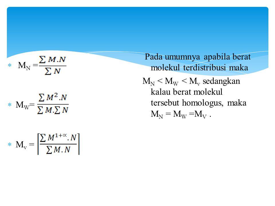 MN = MW= Mv = Pada umumnya apabila berat molekul terdistribusi maka.