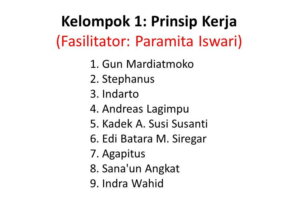 Kelompok 1: Prinsip Kerja (Fasilitator: Paramita Iswari)