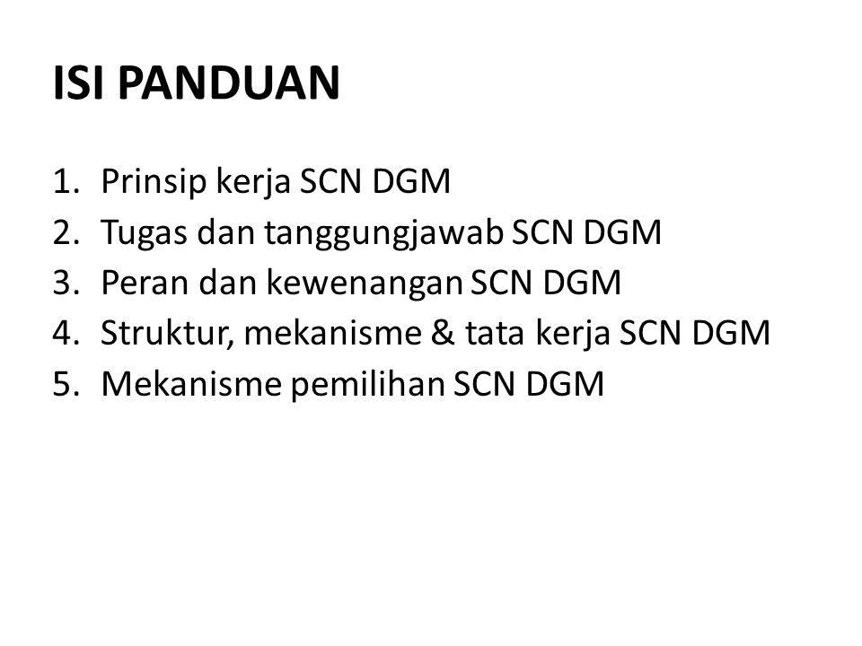 ISI PANDUAN Prinsip kerja SCN DGM Tugas dan tanggungjawab SCN DGM
