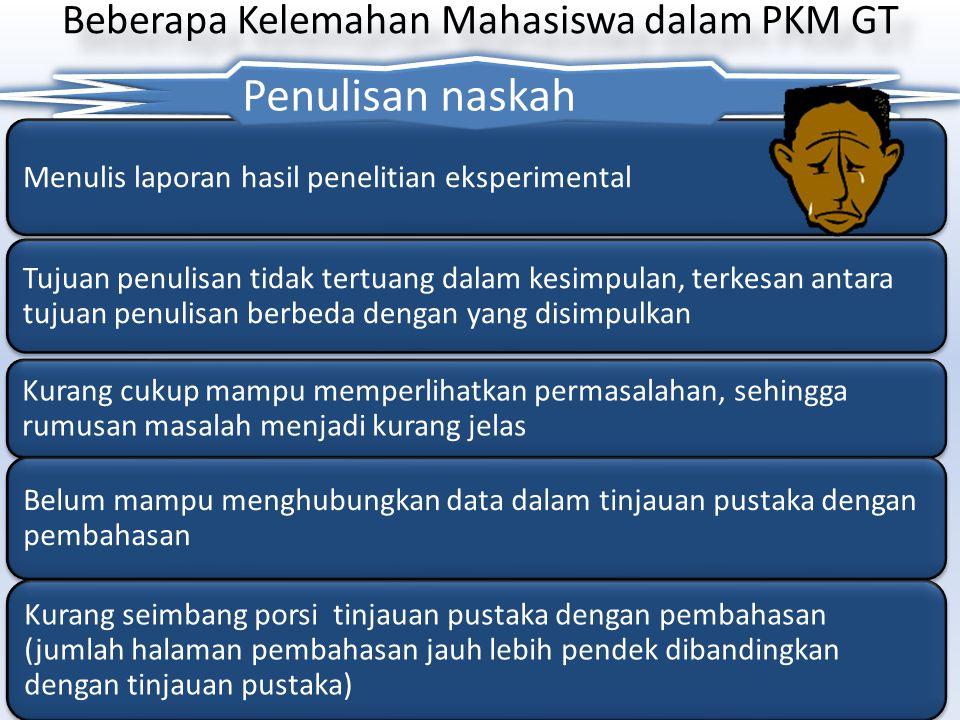 Beberapa Kelemahan Mahasiswa dalam PKM GT