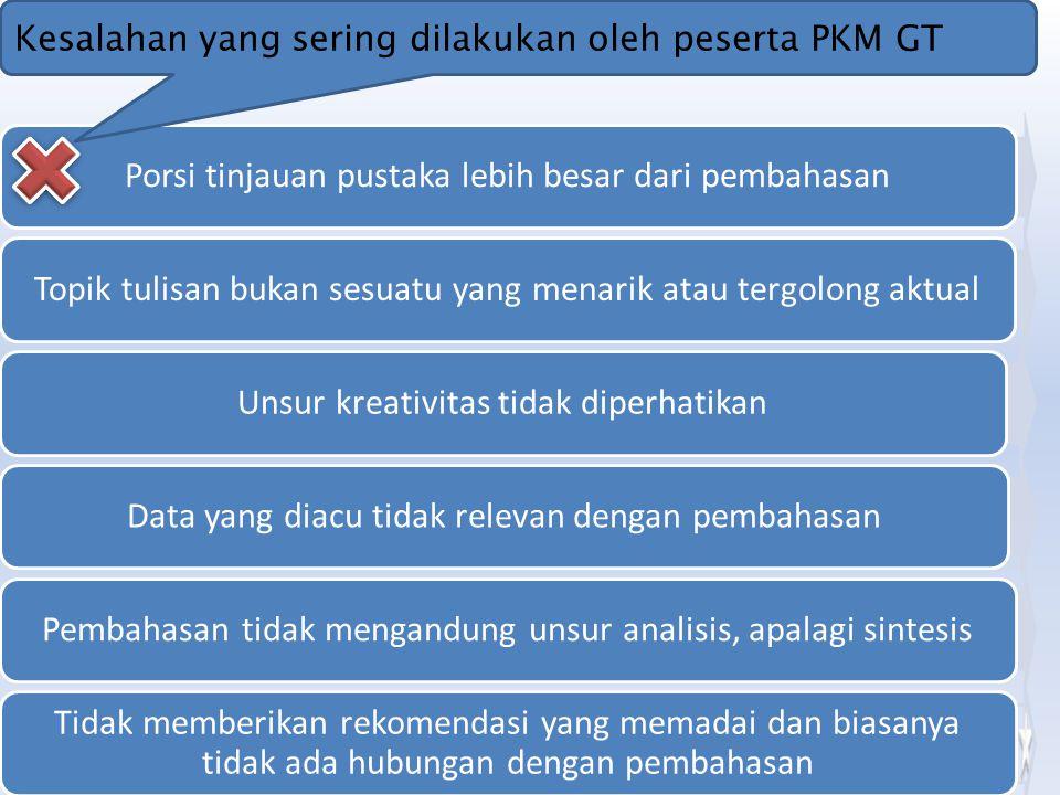 Kesalahan yang sering dilakukan oleh peserta PKM GT
