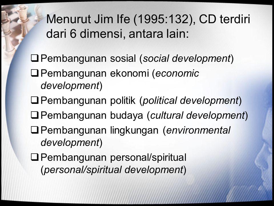 Menurut Jim Ife (1995:132), CD terdiri dari 6 dimensi, antara lain: