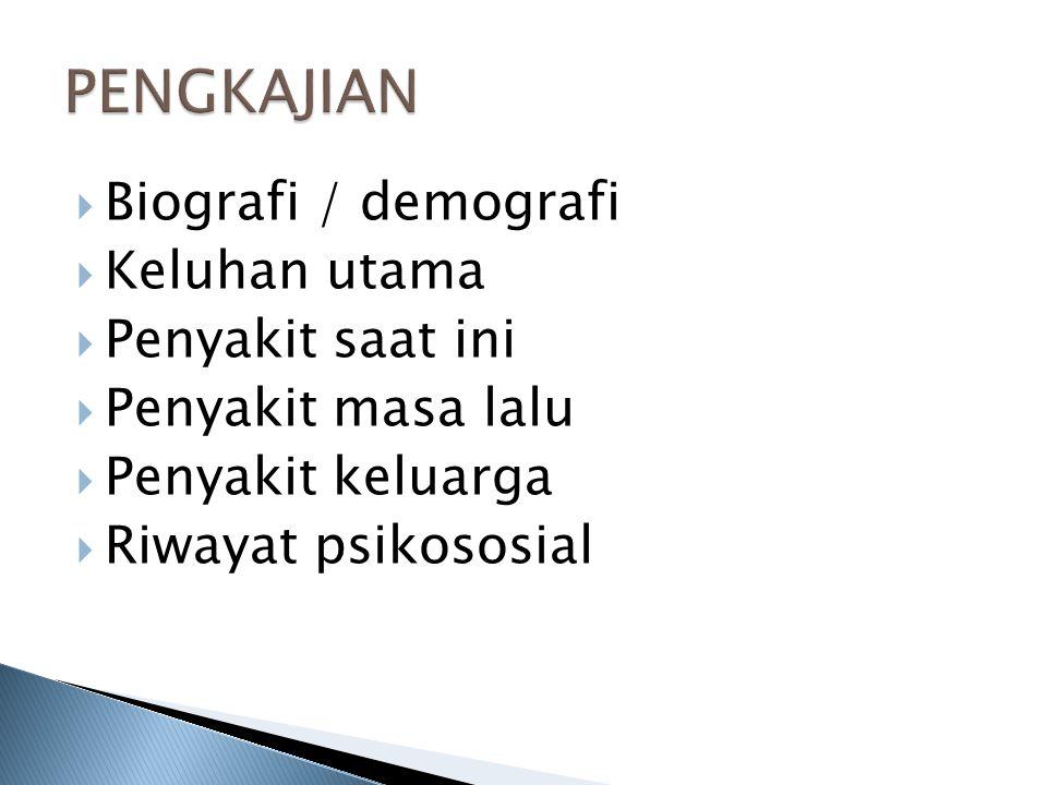PENGKAJIAN Biografi / demografi Keluhan utama Penyakit saat ini