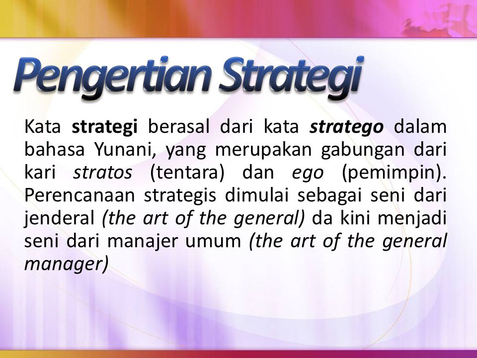 Pengertian Strategi