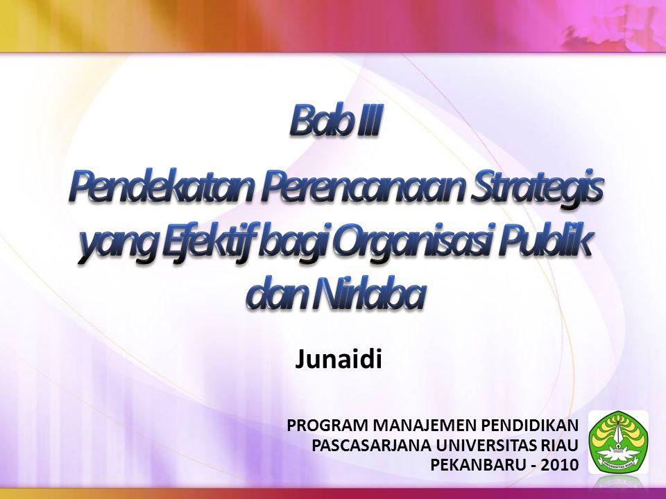 Bab III Pendekatan Perencanaan Strategis yang Efektif bagi Organisasi Publik dan Nirlaba. Junaidi.