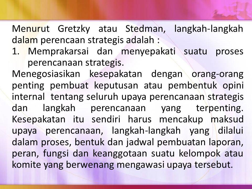 Menurut Gretzky atau Stedman, langkah-langkah dalam perencaan strategis adalah :