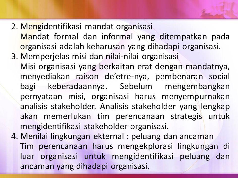 2. Mengidentifikasi mandat organisasi