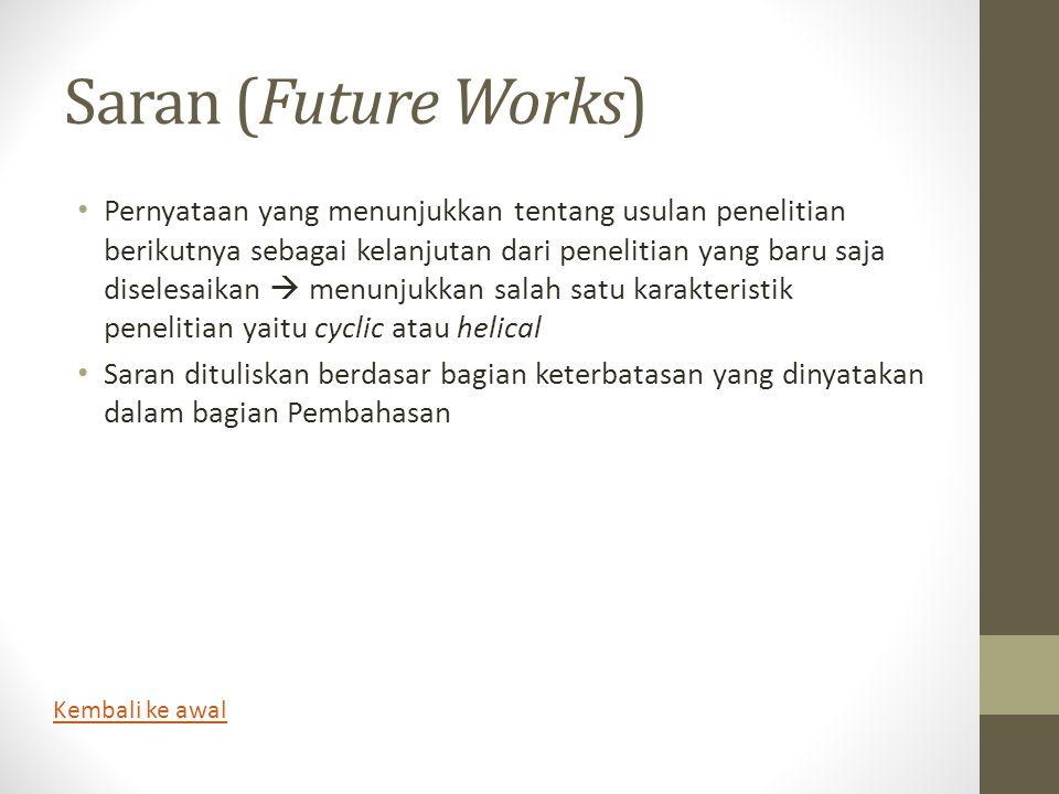 Saran (Future Works)