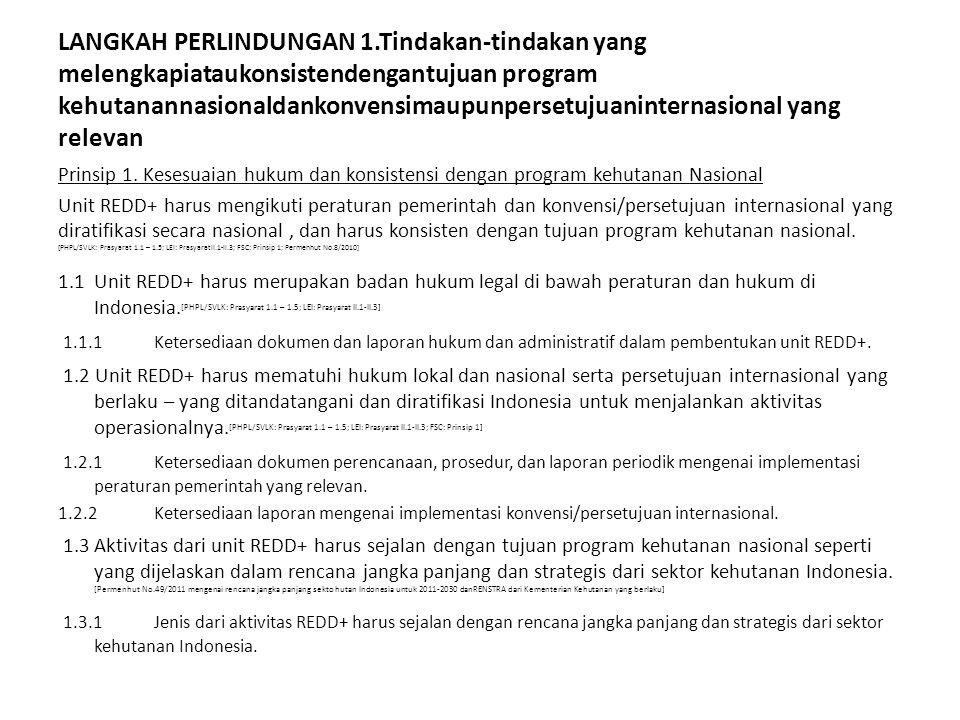 LANGKAH PERLINDUNGAN 1.Tindakan-tindakan yang melengkapiataukonsistendengantujuan program kehutanannasionaldankonvensimaupunpersetujuaninternasional yang relevan