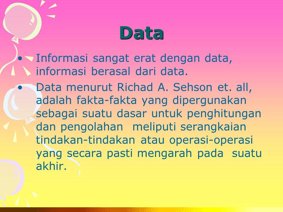 Data Informasi sangat erat dengan data, informasi berasal dari data.