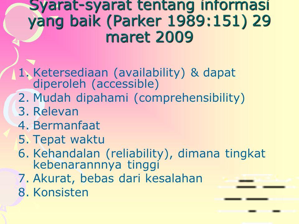 Syarat-syarat tentang informasi yang baik (Parker 1989:151) 29 maret 2009