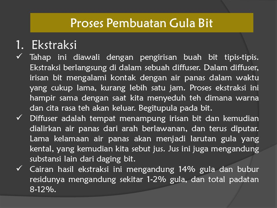 Proses Pembuatan Gula Bit