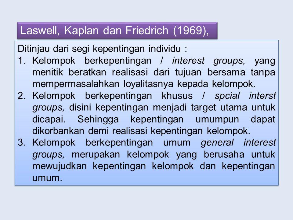 Laswell, Kaplan dan Friedrich (1969),
