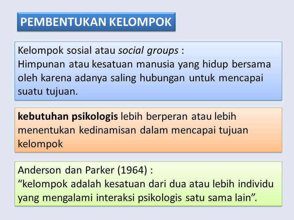 PEMBENTUKAN KELOMPOK Kelompok sosial atau social groups :