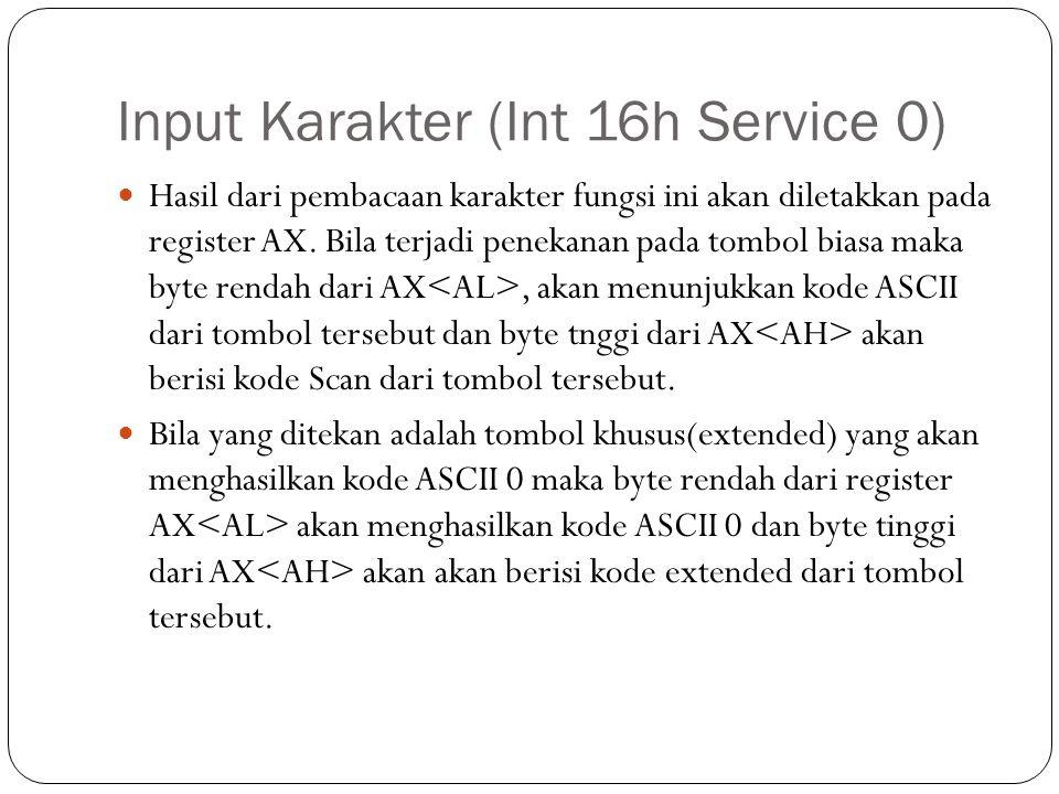 Input Karakter (Int 16h Service 0)