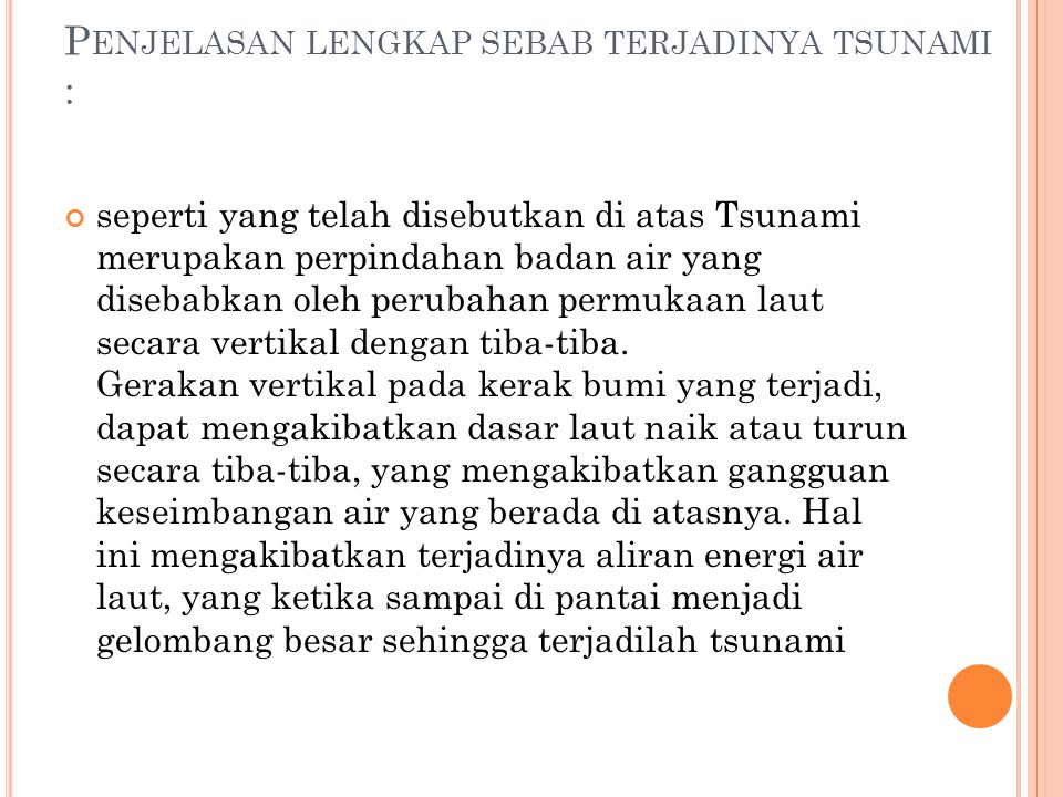 Penjelasan lengkap sebab terjadinya tsunami :