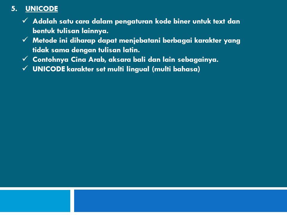 UNICODE Adalah satu cara dalam pengaturan kode biner untuk text dan bentuk tulisan lainnya.