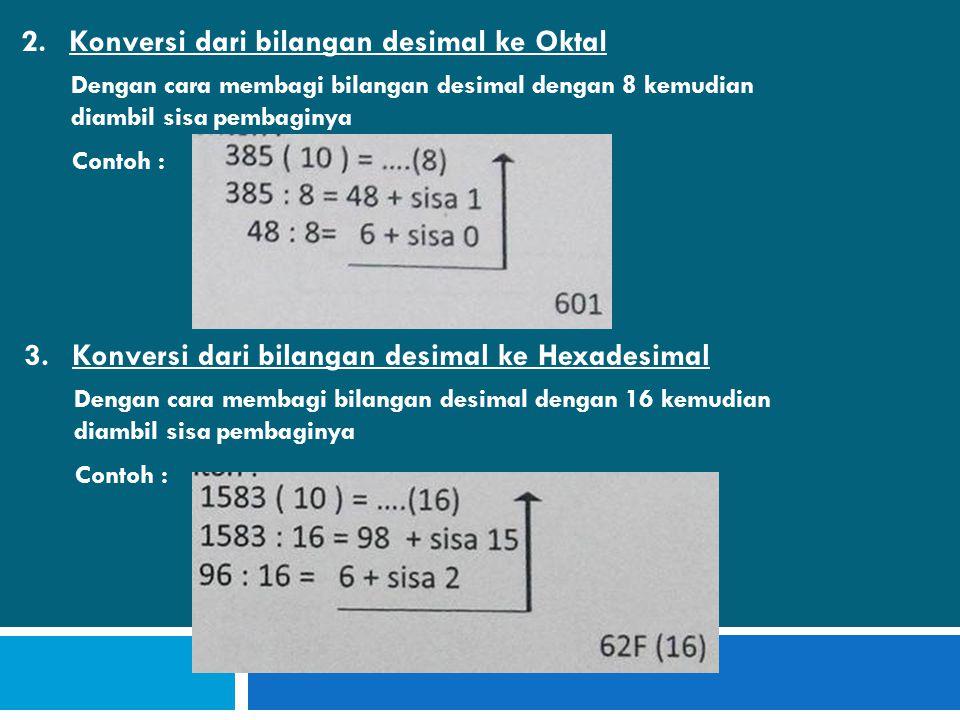 Konversi dari bilangan desimal ke Oktal