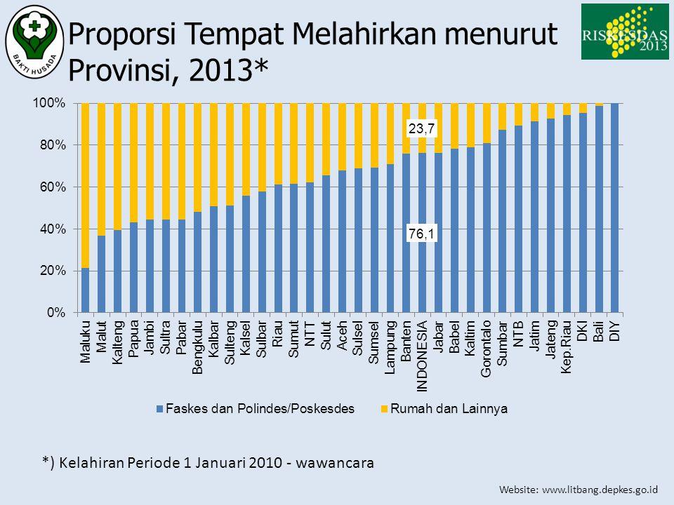 Proporsi Tempat Melahirkan menurut Provinsi, 2013*