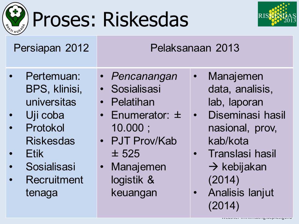 Proses: Riskesdas Persiapan 2012 Pelaksanaan 2013
