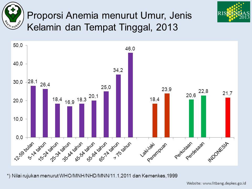 Proporsi Anemia menurut Umur, Jenis Kelamin dan Tempat Tinggal, 2013