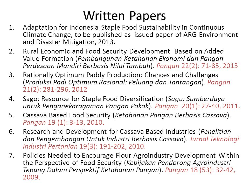 Written Papers