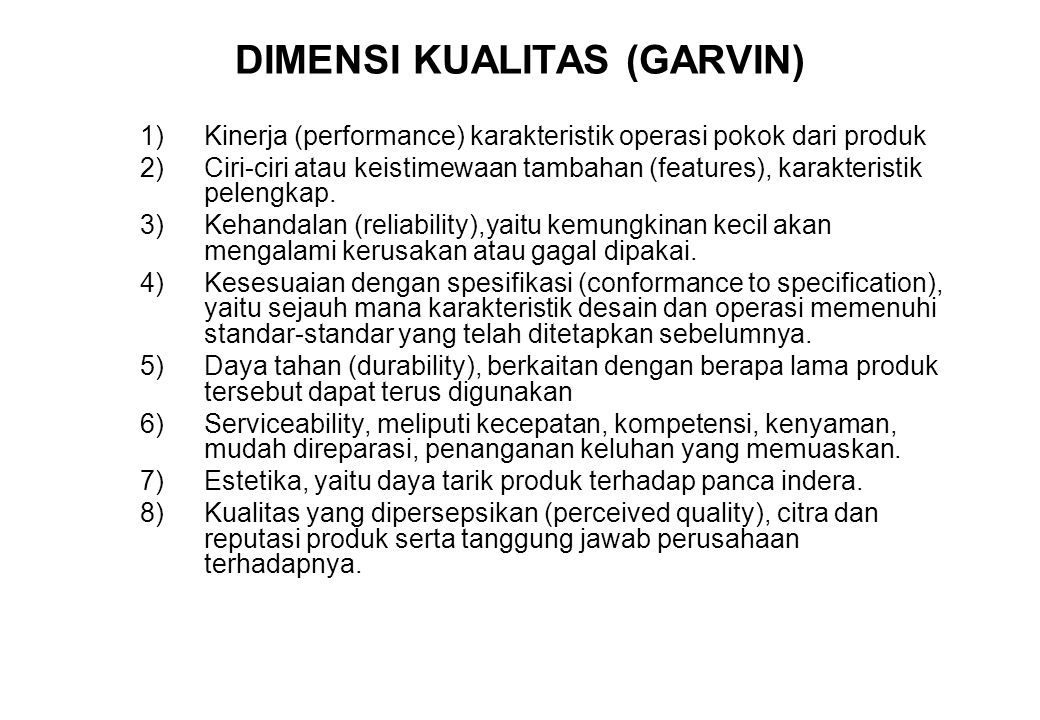 DIMENSI KUALITAS (GARVIN)