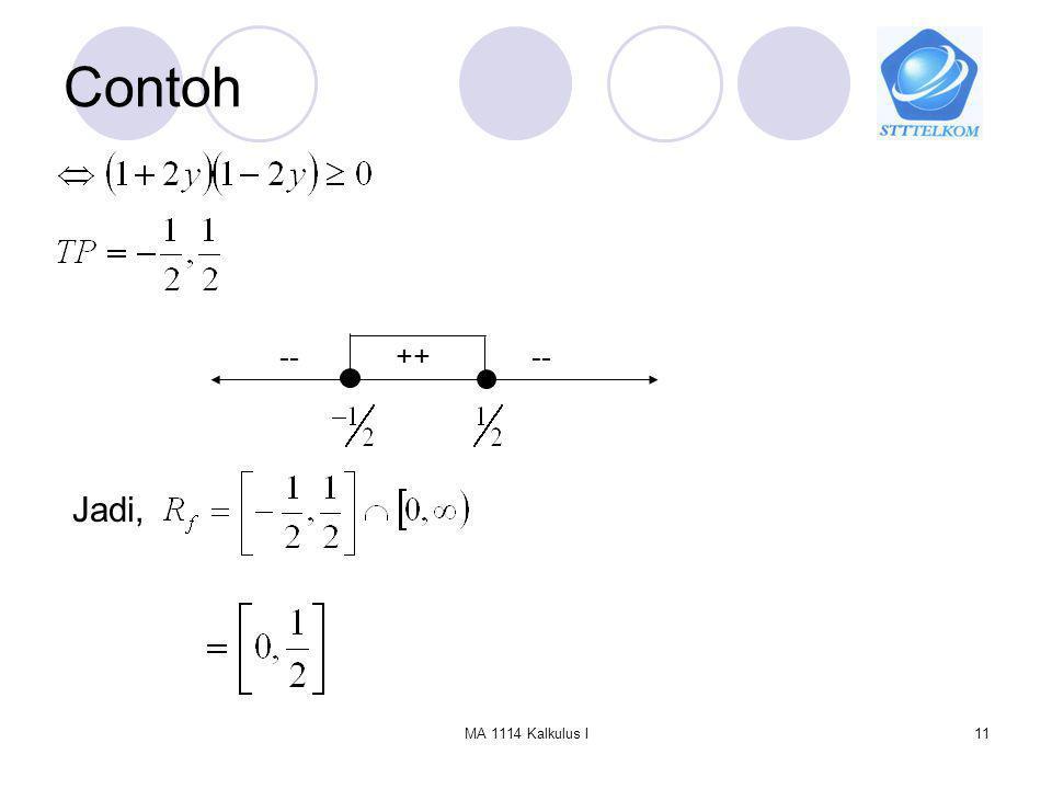 Contoh -- ++ -- Jadi, MA 1114 Kalkulus I