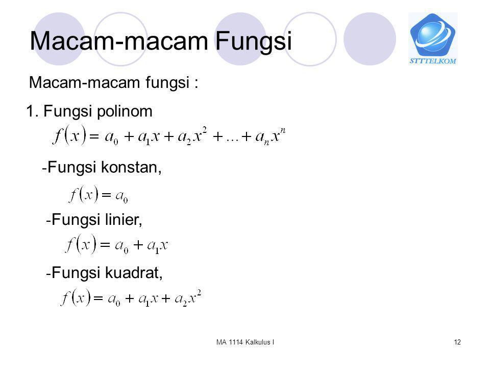 Macam-macam Fungsi Macam-macam fungsi : 1. Fungsi polinom