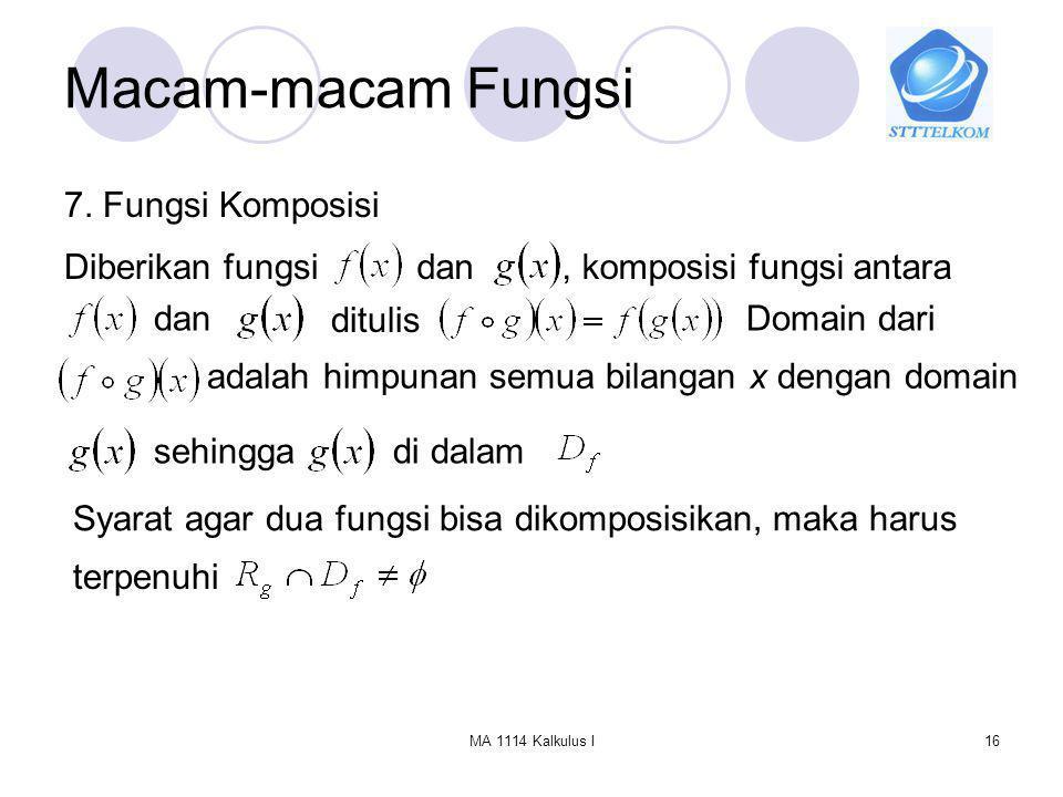 Macam-macam Fungsi 7. Fungsi Komposisi Diberikan fungsi dan