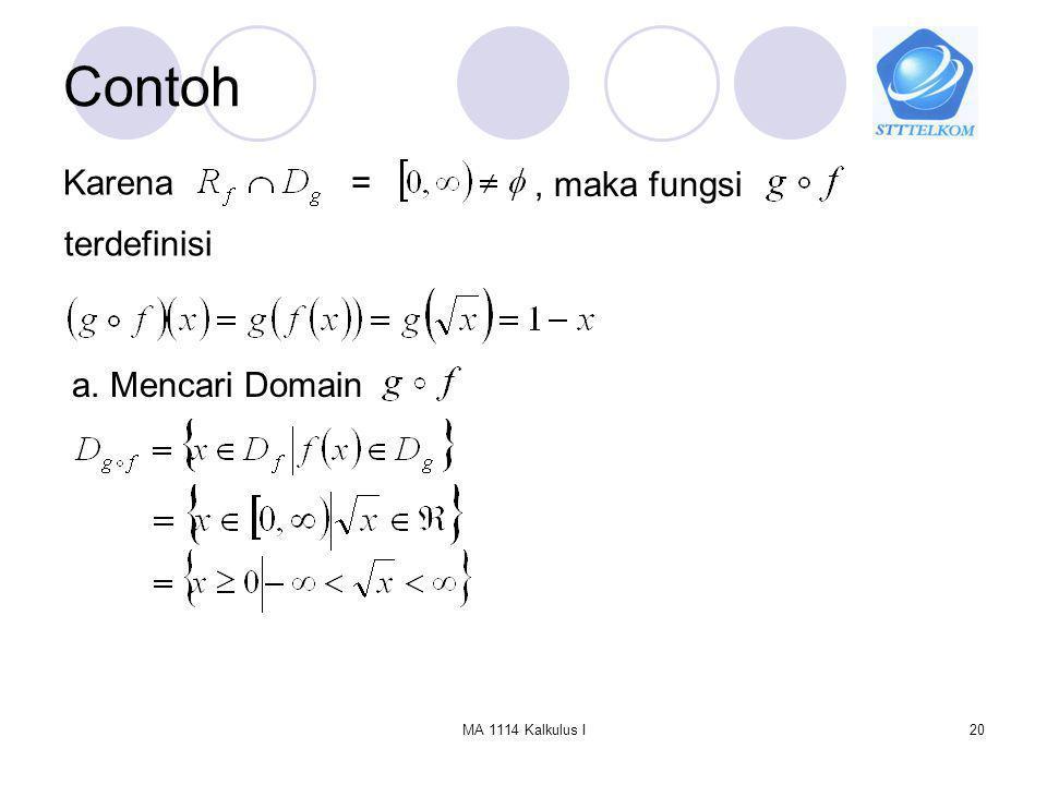 Contoh Karena = , maka fungsi terdefinisi a. Mencari Domain