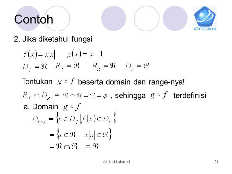 Contoh 2. Jika diketahui fungsi Tentukan beserta domain dan range-nya!