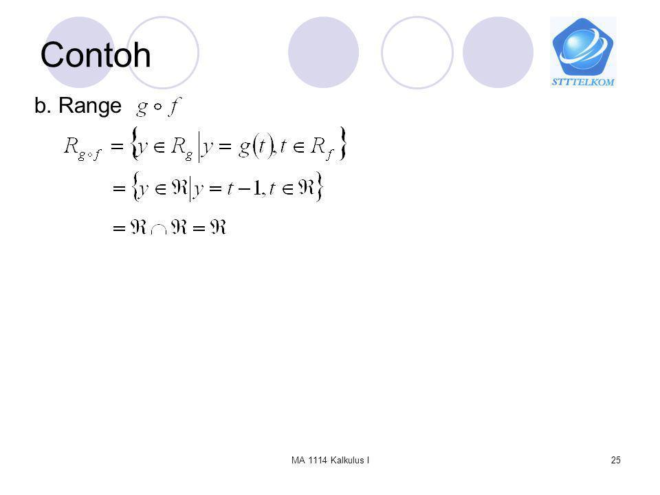 Contoh b. Range MA 1114 Kalkulus I