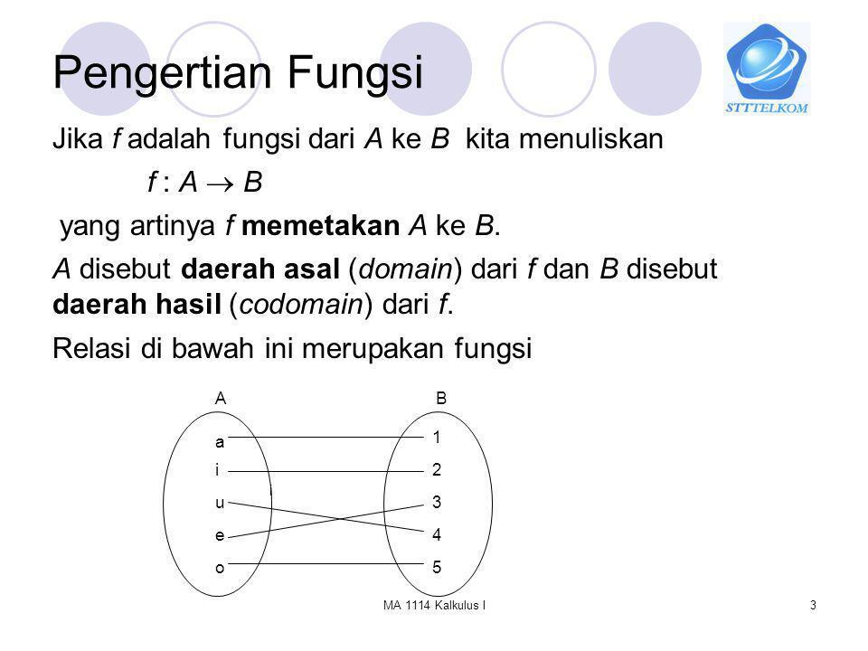 Pengertian Fungsi Jika f adalah fungsi dari A ke B kita menuliskan