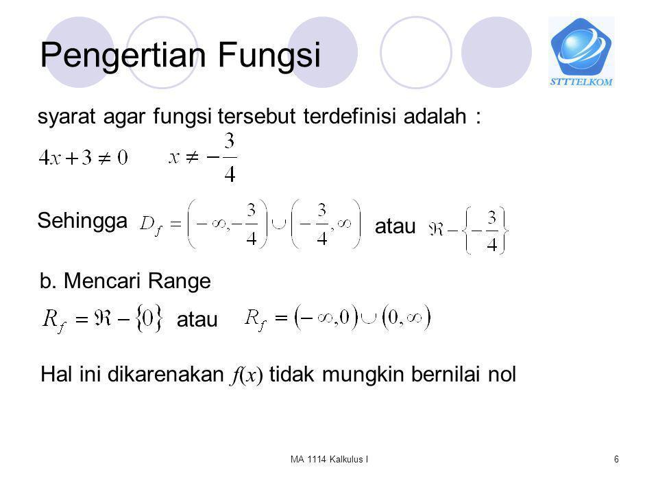 Pengertian Fungsi syarat agar fungsi tersebut terdefinisi adalah :