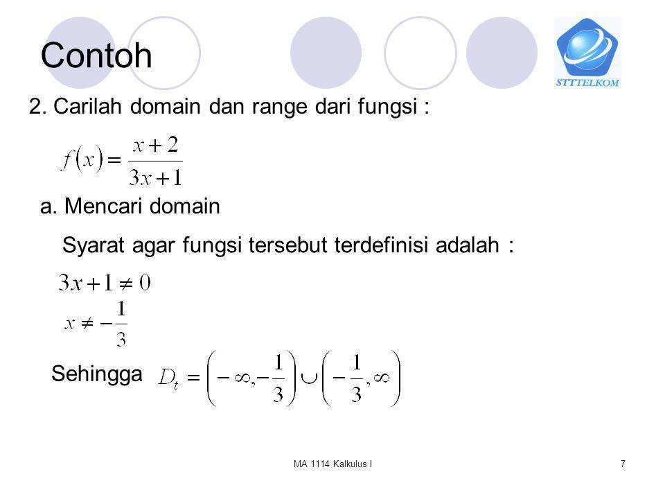 Contoh 2. Carilah domain dan range dari fungsi : a. Mencari domain
