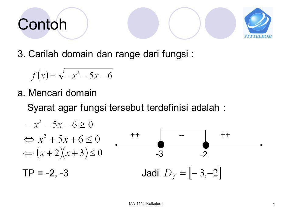 Contoh 3. Carilah domain dan range dari fungsi : a. Mencari domain