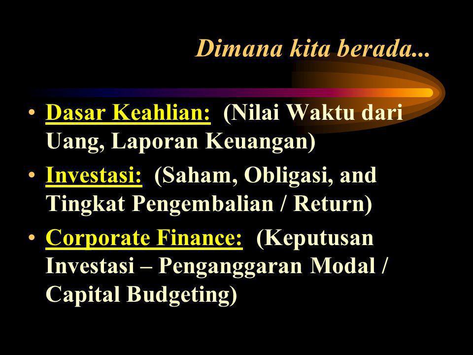 Dimana kita berada... Dasar Keahlian: (Nilai Waktu dari Uang, Laporan Keuangan) Investasi: (Saham, Obligasi, and Tingkat Pengembalian / Return)