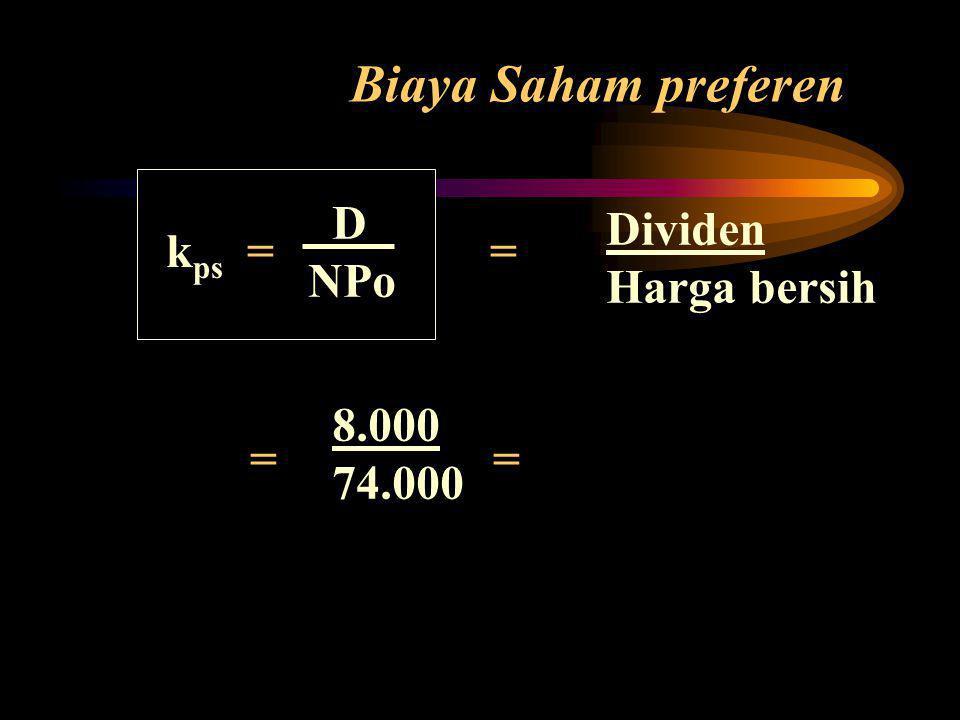 Biaya Saham preferen D Dividen kps = = NPo Harga bersih = = 8.000
