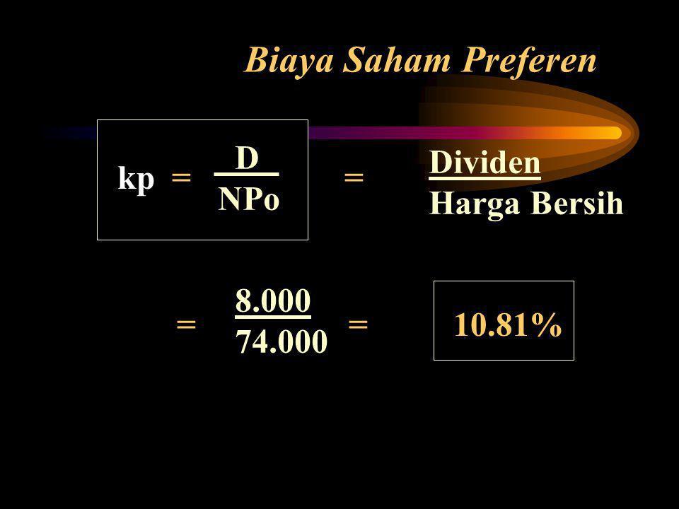 Biaya Saham Preferen D Dividen kp = = NPo Harga Bersih = = 10.81%