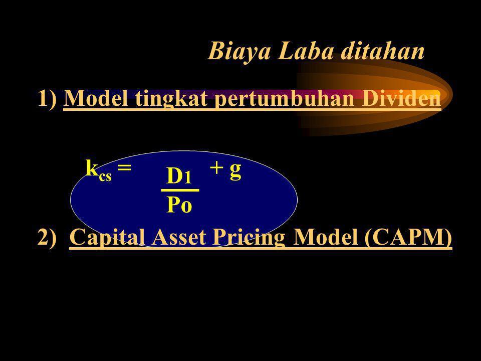 Biaya Laba ditahan 1) Model tingkat pertumbuhan Dividen kcs = + g