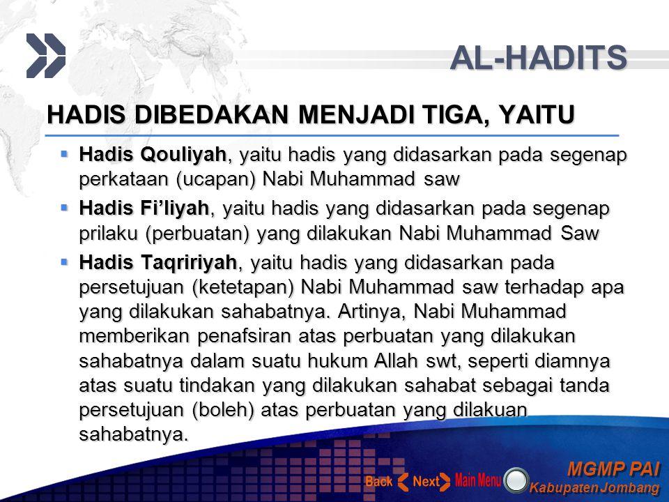 AL-HADITS Back Next HADIS DIBEDAKAN MENJADI TIGA, YAITU