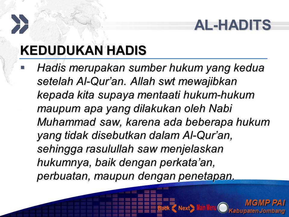 AL-HADITS Back Next KEDUDUKAN HADIS
