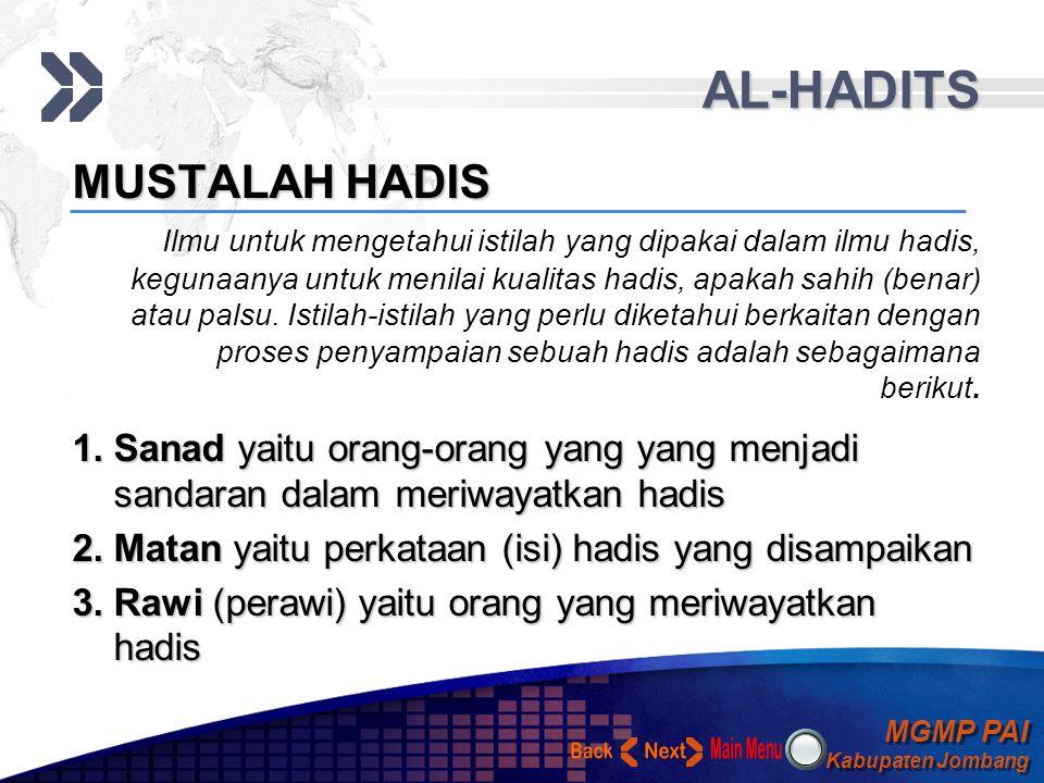 AL-HADITS Back Next MUSTALAH HADIS