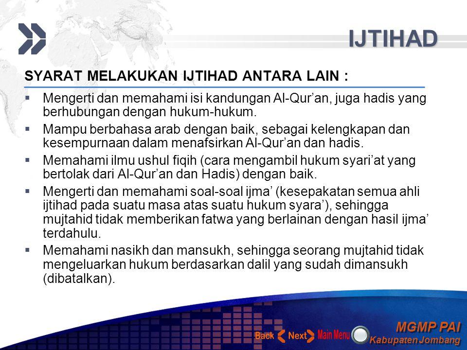 IJTIHAD Back Next SYARAT MELAKUKAN IJTIHAD ANTARA LAIN :