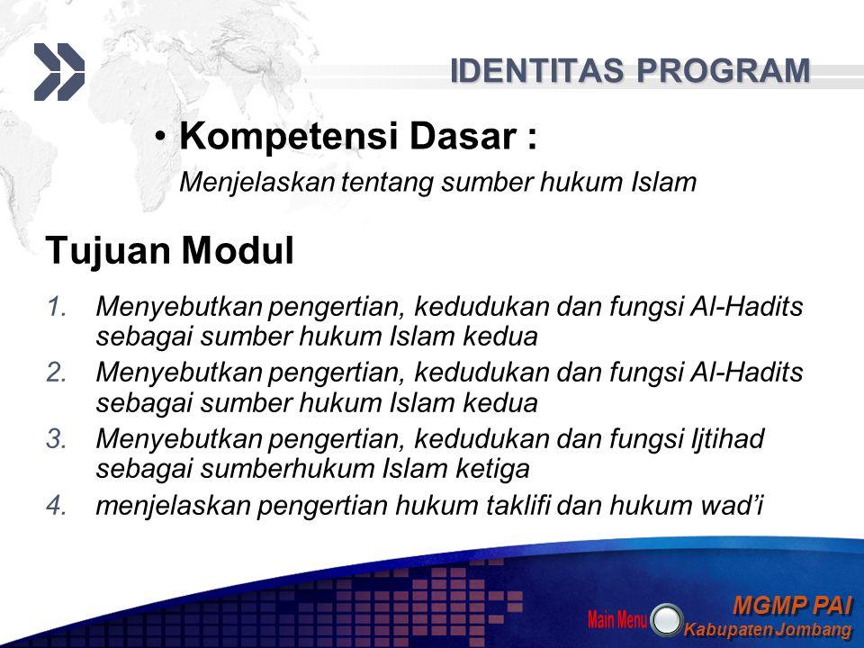 Kompetensi Dasar : Tujuan Modul IDENTITAS PROGRAM