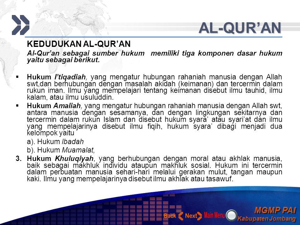 AL-QUR'AN KEDUDUKAN AL-QUR'AN. Al-Qur'an sebagai sumber hukum memiliki tiga komponen dasar hukum yaitu sebagai berikut.