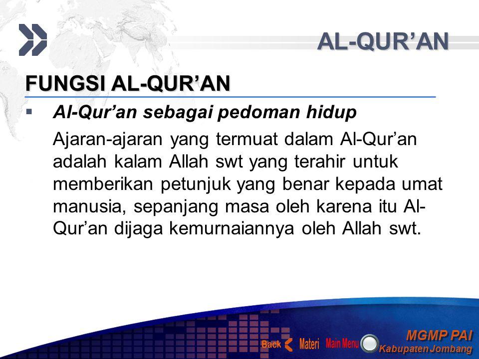AL-QUR'AN Materi Back FUNGSI AL-QUR'AN Al-Qur'an sebagai pedoman hidup